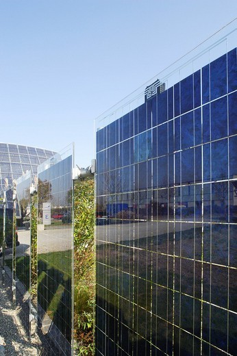 Photovoltaic panels of a photovoltaic system, solar cells : Stock Photo