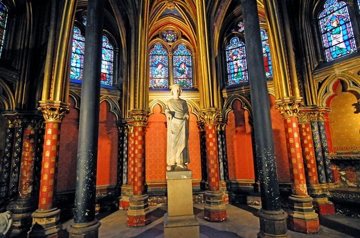 Cainte_Chapelle, High Gothic, partial interior lower Chapel, Paris, France, Europe : Stock Photo