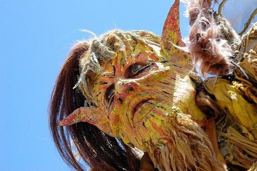 Stock Photo: 1848-37460 Yellow demon devil mask, portrait, knight festival Kaltenberger Ritterspiele, Kaltenberg, Upper Bavaria, Germany