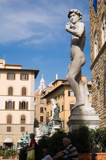 Stock Photo: 1848-37486 David statue by Michelangelo, Florence, Tuscany, Italy, Europe