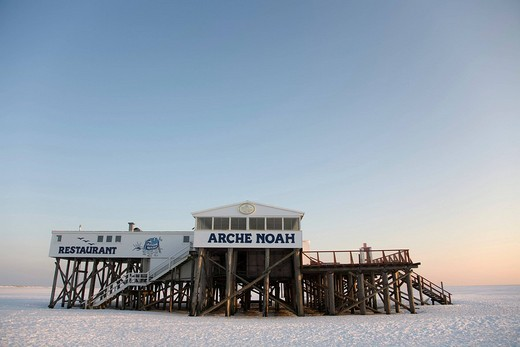 Arche Noah Noah´s Ark Restaurant on the North Sea coast in wintertime, St. Peter Ording, Eiderstedt, North Frisia, Schleswig Holstein, Northern Germany : Stock Photo
