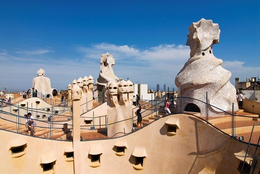 Roof of Casa Milà designed by the architect Antoni Gaudí, also known as La Pedrera, the Quarry, at the Passeig de Gràcia, Eixample district, Barcelona, Spain, Europe : Stock Photo