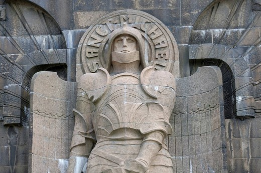 Statue of St Michael, Battle of Nations Memorial, Leipzig, Saxony, Germany, Europe : Stock Photo