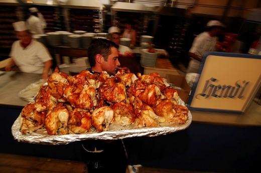 Waiter with roast chicken, Wies´n, October fest, Munich, Bavaria, Germany, Europe : Stock Photo