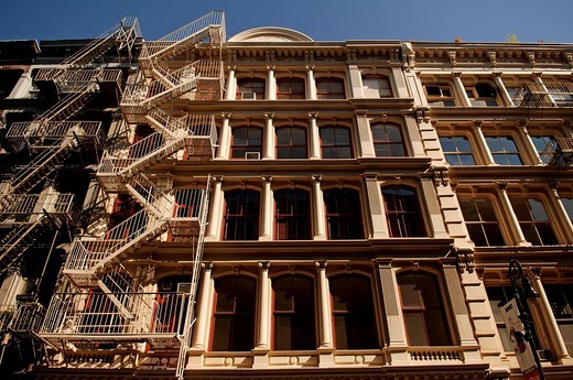 Stock Photo: 1848-38777 Residential housing facades with fire escape ladders, New York City, USA, North America