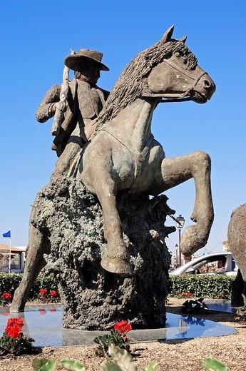 Statue of guardian on Camargue Horse, Les Saintes_Maries_de_la_Mer, Camargue, Bouches_du_Rhone, Provence_Alpes_Cote d´Azur, Southern France, France, Europe : Stock Photo