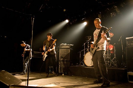 US rock metal band Helmet, Page Hamilton: vocals and guitar, Dan Beeman: guitar, Jon Fuller: bass, Kyle Stevenson: drums, live in Schueuer Luzern, Switzerland : Stock Photo