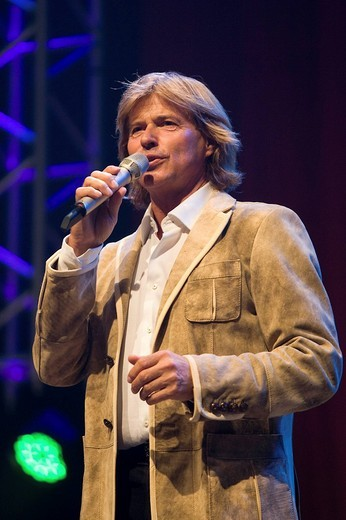 Hansi Hinterseer, Austrian pop and folk singer, presenter and actor, live at the 9. Schlager Nacht concert in the Allmend festival hall, Lucerne, Switzerland : Stock Photo