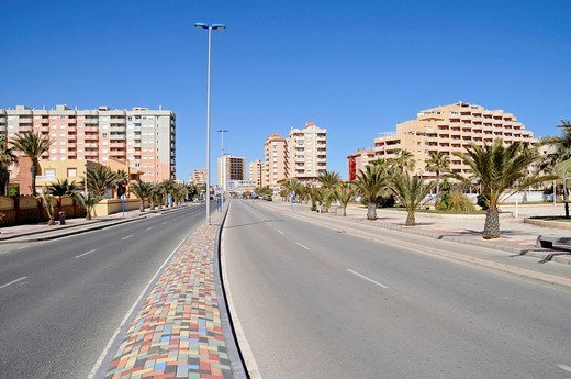 High_rise buildings, street, La Manga, Mar Menor, Murcia, Spain, Europe : Stock Photo