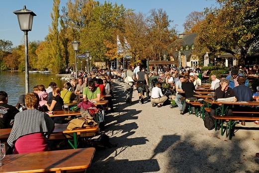 Biergarten, beer garden, at Seehaus, Kleinhesseloher See, Englischer Garten, English Garden, Munich, Bavaria, Germany : Stock Photo