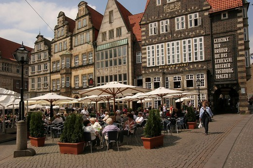 Cafe on the market place, Bremen, Germany, Europe : Stock Photo