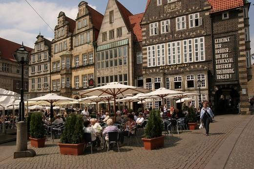 Stock Photo: 1848-40015 Cafe on the market place, Bremen, Germany, Europe