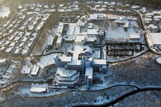 Aerial view, snow, comprehensive university Siegen, Siegen university, winter, Siegen, Sauerland area, North Rhine_Westphalia, Germany, Europe : Stock Photo
