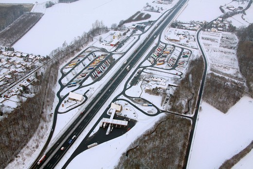 Aerial photo, Rhynern, A2 Autobahn, highway petrol station and rest stop, snow_covered, Hamm, Ruhr area, North Rhine_Westphalia, Germany, Europe : Stock Photo