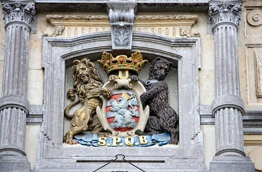 Stock Photo: 1848-400334 Coat of arms of Bruges, koninklijke Stadsschouwburg, Royal City Theater, West Flanders, Belgium, Europe