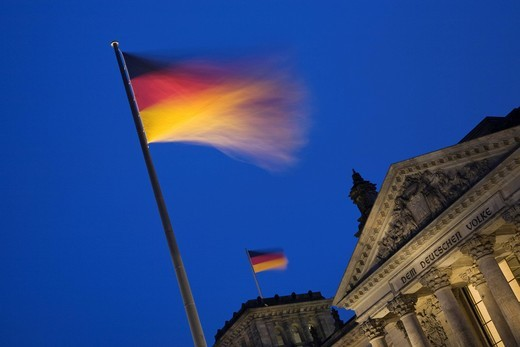 Stock Photo: 1848-400501 Flag of Germany and the Reichstag, Charlottenburg, Berlin, Germany, Europe