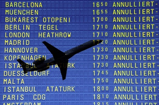 Arrival and departure board at airport, flying ban because of volcanic eruption, canceled flights : Stock Photo