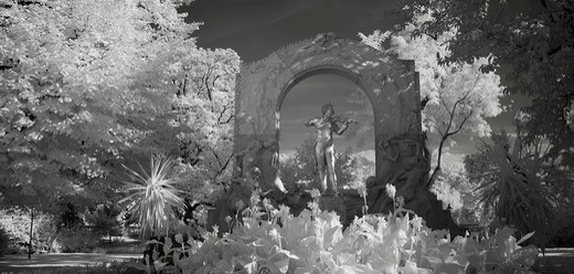 Johann Strauss monument, infrared photo, Wiener Stadtpark municipal park, Vienna, Austria, Europe : Stock Photo