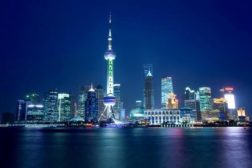 Illuminated skyline at night, Shanghai, Pudong, China, Asia : Stock Photo