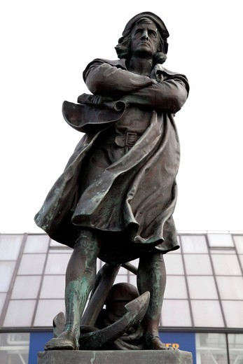 Christopher Columbus, navigator, statue, Bremerhaven, Bremen, Germany, Europe : Stock Photo