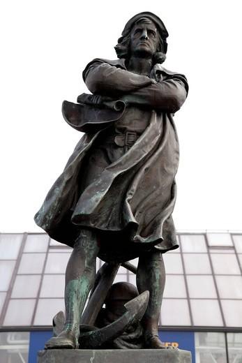 Stock Photo: 1848-401462 Christopher Columbus, navigator, statue, Bremerhaven, Bremen, Germany, Europe