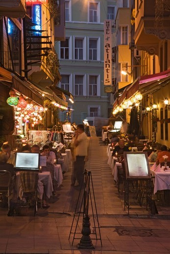 Stock Photo: 1848-401734 Street with restaurants in Sultanahmet, Istanbul, Marmara Region, Turkey