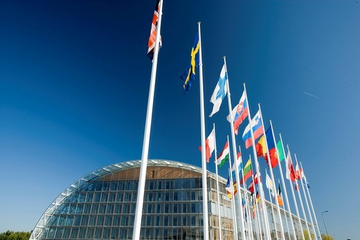 Stock Photo: 1848-402166 International flags, European Investment Bank EIB, Kirchberg_plateau, Europe district, Luxembourg, Europe