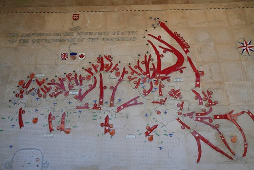 Diagram of the Normandy landings on a wall, Normandy American Cemetery and Memorial above Omaha Beach, site of the landing of the Allied invasion forces on D_Day 6 June 1944, Second World War, Calvados, Région Basse_Normandie, Normandy, France, Europe : Stock Photo