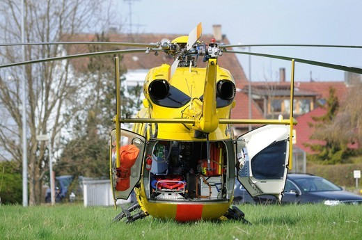 ADAC rescue helicopter Christoph, landing in a meadow in Baltmannsweiler, Baden_Wuerttemberg, Germany, Europe : Stock Photo