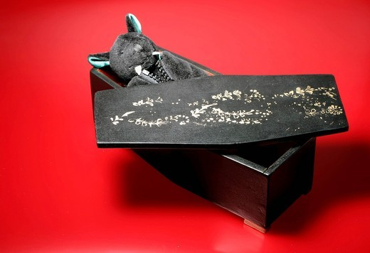 Stock Photo: 1848-403002 Bat, stuffed animal, in a coffin