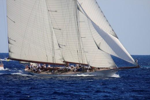 Historic sailing ship regatta at the Classic Week of the Yacht Club Monaco, Principality of Monaco, Côte d´Azur, Europe : Stock Photo