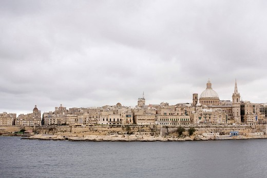 View from Sliema, St Paul´s Pro_Cathedral and Carmelite Church, Marsamxett Harbour, Valletta, Malta, Europe : Stock Photo