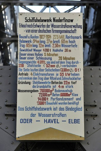 Information board at the Niederfinow boat lift, Brandenburg, Germany, Europe : Stock Photo