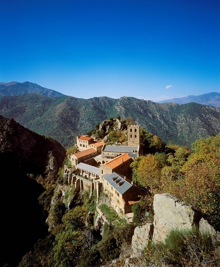 Stock Photo: 1848-403427 Monastery of Saint_Martin_du_Canigou, Pyrénées_Orientales, Languedoc_Roussillon, France, Europe