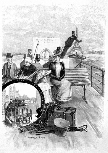 Woodcut Steamboat on the Seine River, yearbook Moderne Kunst in Meisterholzschnitten, German for modern art in masterful woodcuts, 1900 : Stock Photo