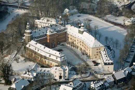 Aerial photo, Schloss Berleburg Castle in the snow in winter, Bad Berleburg, North Rhine_Westphalia, Germany, Europe : Stock Photo