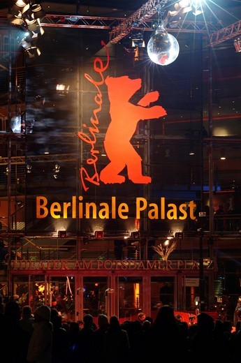 Red carpet at the Berlinale or Berlin Film Festival, Berlinale Palast musical theater on Potsdamer Platz square, Tiergarten, Berlin, Germany, Europe : Stock Photo