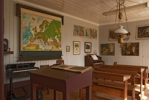Stock Photo: 1848-403893 Classroom, Skogar Folk Museum, Skogar, Iceland, Europe