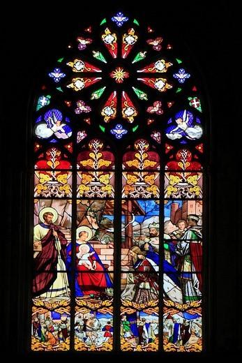 Stock Photo: 1848-403920 Stained glass window, Cathedral of Saint_Gatien, Tours, Inde_et_Loire, Région Centre, France, Europe
