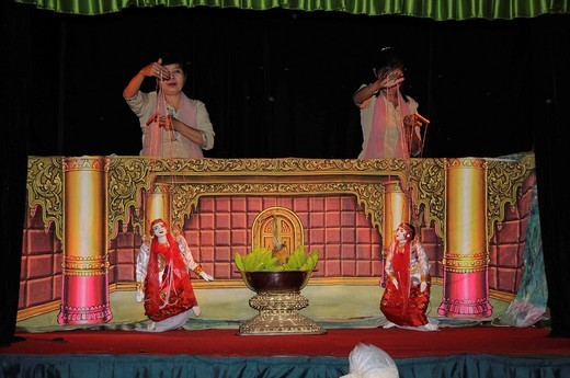 Stock Photo: 1848-404097 Burmese puppet theatre, Mandalay, Myanmar, Burma, Southeast Asia, Asia