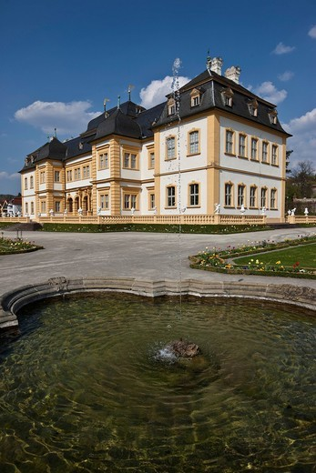 Schloss Veitshoechheim castle and Hofgarten palace gardens, castle of the Wuerzburg prince_bishops, built 1680_1682 by Heinrich Zimmer, Wuerzburg district, Bavaria, Germany, Europe : Stock Photo