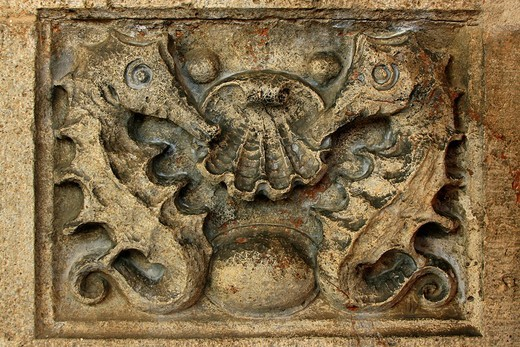 Stone relief of seahorses and scallop, Sprudelhof, important building of Art Nouveau architecture, Bad Nauheim, Hesse, Germany, Europe : Stock Photo
