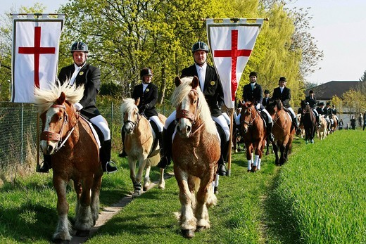 Stock Photo: 1848-404454 Easter riders procession in the Lausitz region, Brandenburg, Germany, Europe