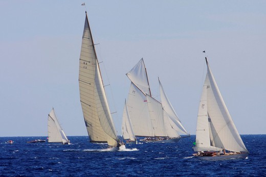 Stock Photo: 1848-404481 Historic sailing ship regatta at the Classic Week of the Yacht Club Monaco, Principality of Monaco, Côte d´Azur, Europe