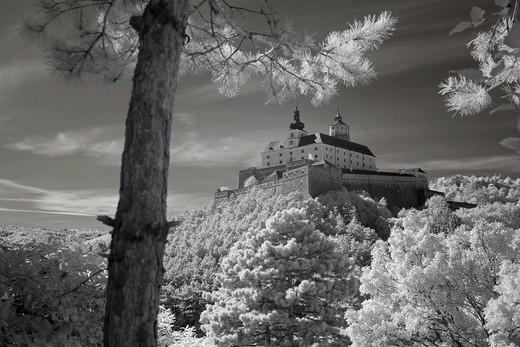 Burg Forchtenstein castle, infrared photo, Forchtenstein, Burgenland state, Austria, Europe, Forchtenstein, Burgenland : Stock Photo