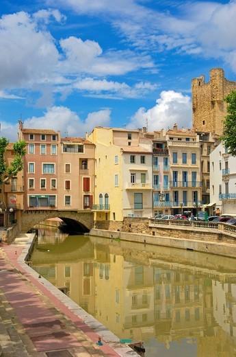 Stock Photo: 1848-404666 Canal de la Robine, Narbonne, Aude, Languedoc Roussillon, France, Europe