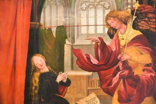 Annunciation, detail, Isenheim Altarpiece by artist Matthias Gruenewald, Unterlinden Museum, Colmar, Alsace, France, Europe : Stock Photo