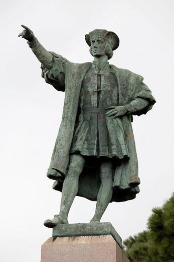 Stock Photo: 1848-405300 Statue of Christopher Columbus, Rapallo, Riviera, Liguria, Italy, Europe