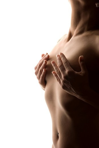 Stock Photo: 1848-405362 Woman, upper part of the body, covering naked breasts