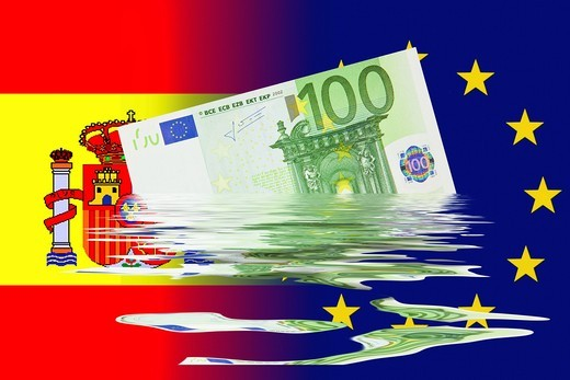 Stock Photo: 1848-405534 Dilution of the Euro currency following a crisis triggered by Spain, symbolic image